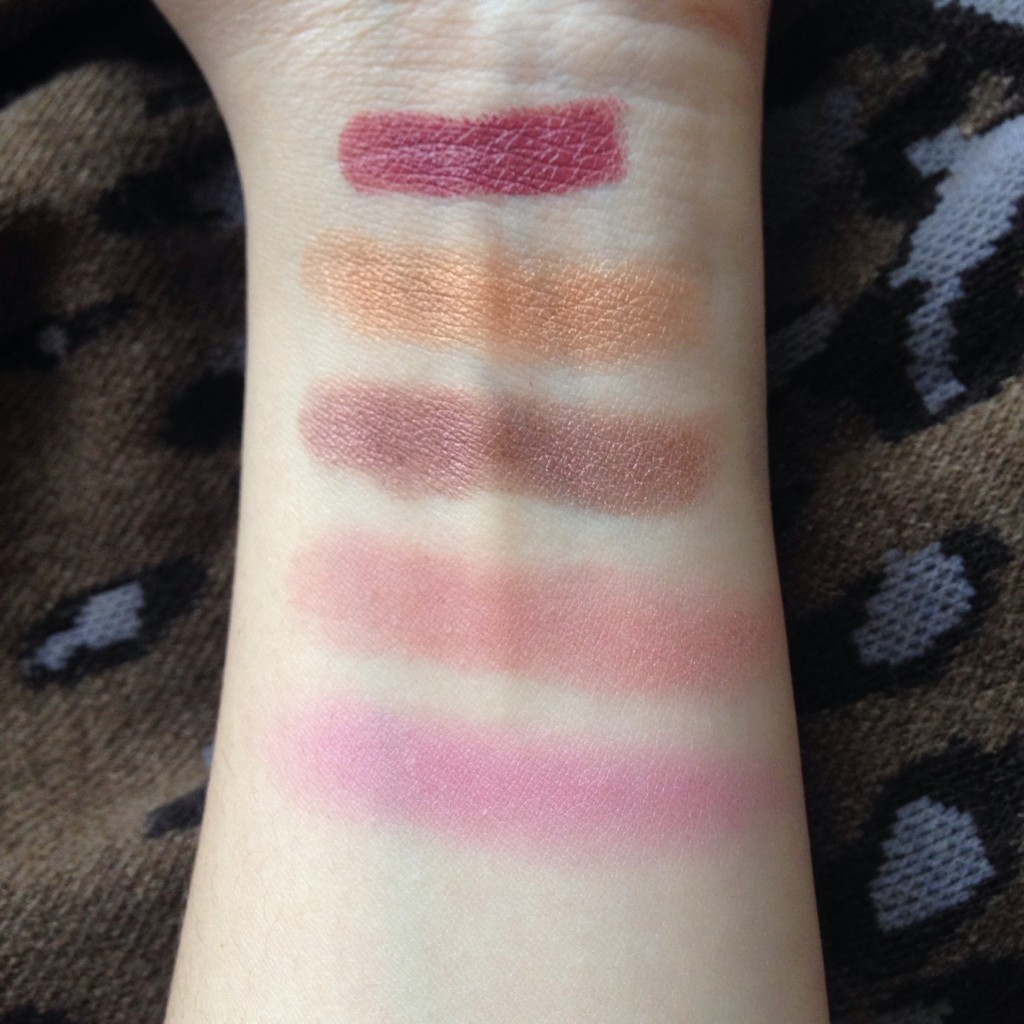 From top to bottom: Illamasqua minx, Nars cheyenne, Tart exposed and Mac Vintage Grape